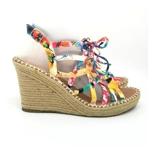 So Womens Espadrille Lace Up Floral Wedge Sandals